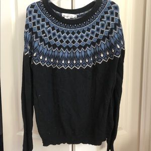 H&M LOGG FAIR ISLE Blue Sweater Blue LARGE